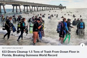 Divers ocean floor cleanup