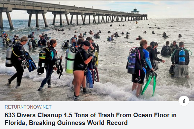 Divers ocean floor cleanup