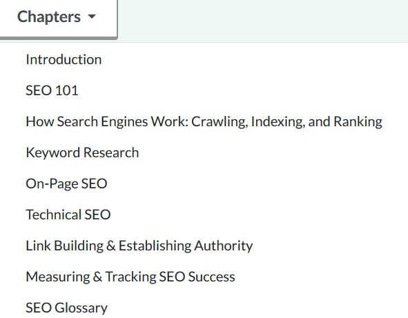 MOZ SEO chapters